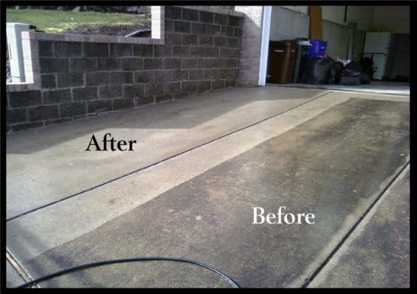 how to power wash concrete